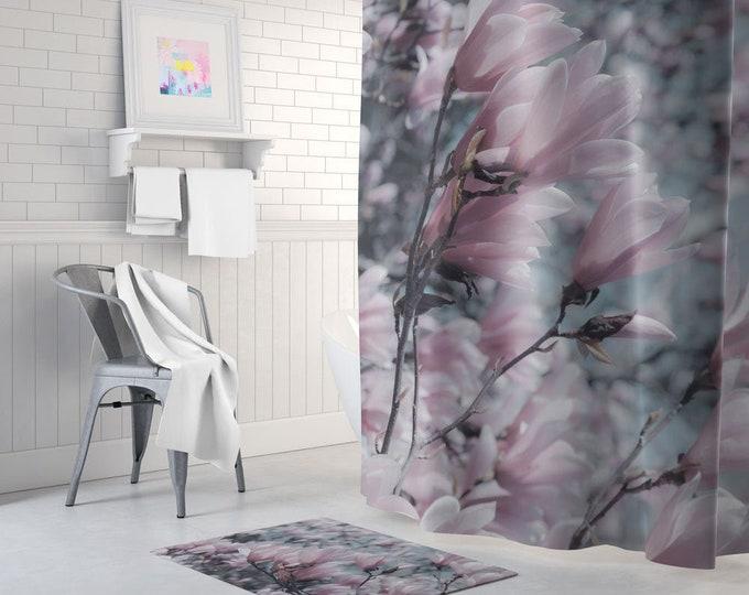 Floral Shower Curtain, Floral Bath Curtain, Romantic Decor, Lilac Shower Curtain