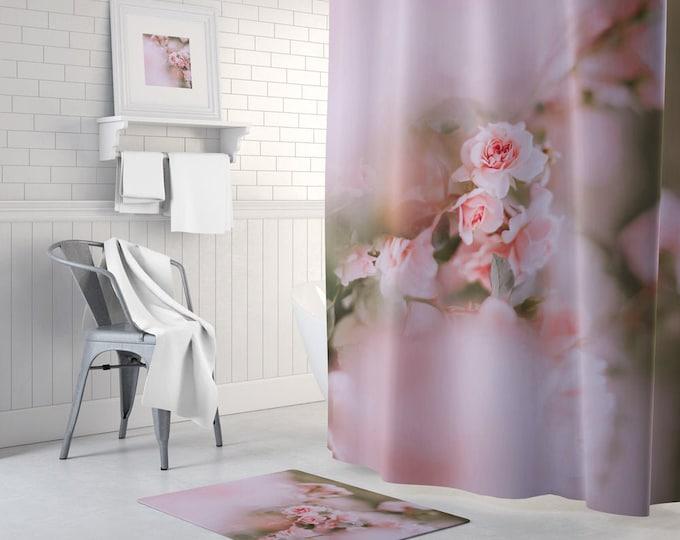 Pink Floral Shower Curtain, Floral Bath Curtain, Romantic Decor