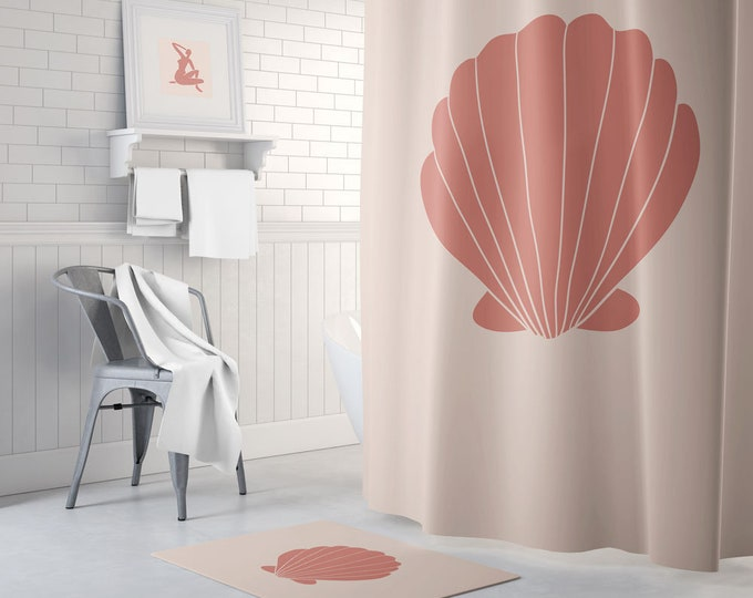 Terracotta Clam Shower Curtain - Bath Mat - Terracotta Decor - Boho Shower Curtain - Waterproof Fabric