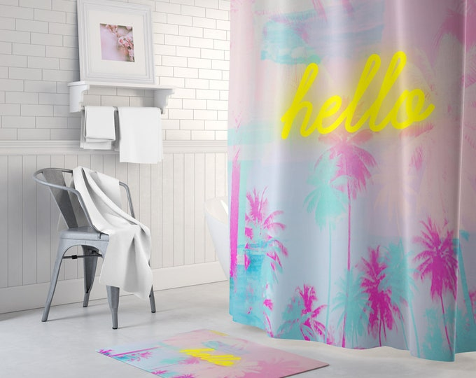 Palm Print Shower Curtain, Pink Shower Curtain, Yellow Decor, Pink Decor, Neon Decor