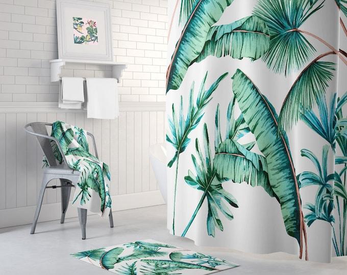 Tropical leaves shower curtain - Tropical Decor