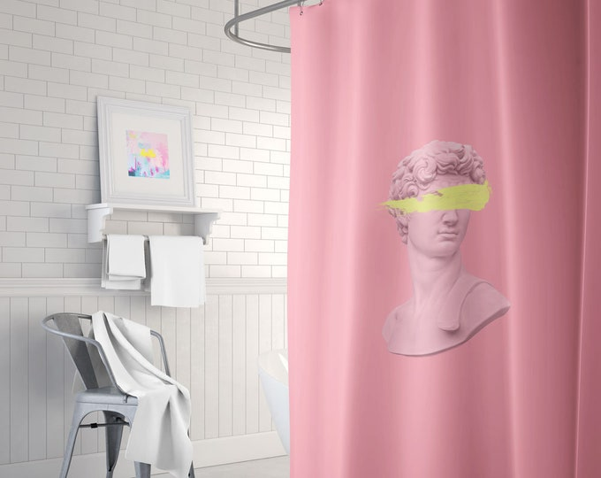 Aesthetic Pink Shower Curtain, Statue Bust Decor, Pink Bathroom Decor