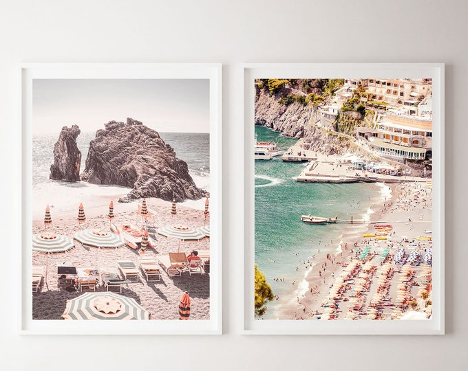 Beach Photography Print Set, Positano Print Set, Beach Umbrella Print, Capri Wall Print