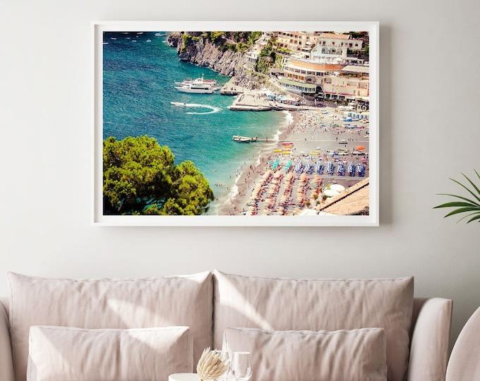 Aerial beach photography print  - Positano Wall Print - Beach Umbrella Print