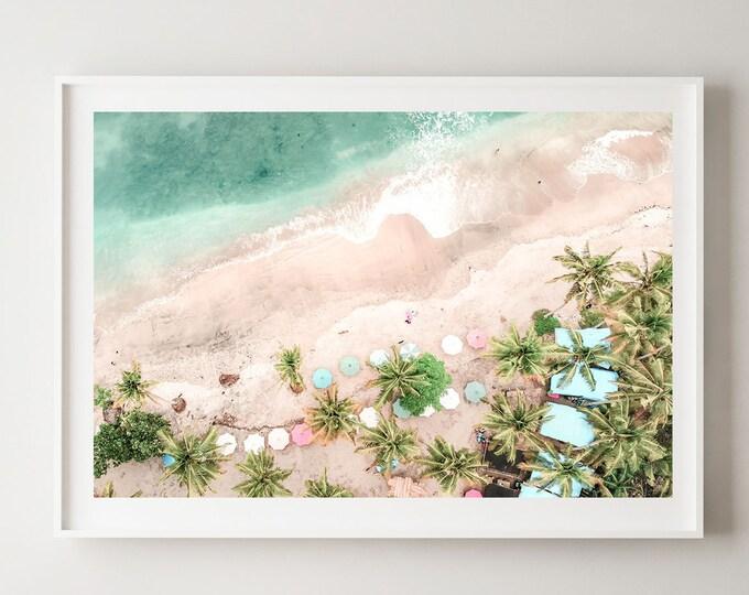 Beach Wall Print - Beach Umbrella Print - Beach Photography - Aerial Beach Print