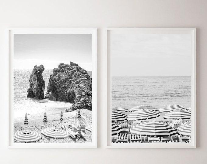 Black and White Beach Photography Print Set, Beach Wall Art, Beach Print Set