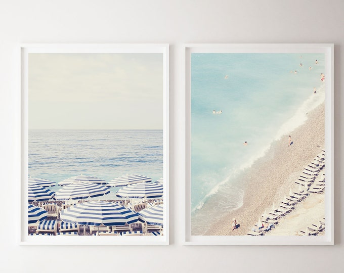 Beach Photography Print Set, French Riviera Print Set, Beach Umbrella Print, Blue Print Set