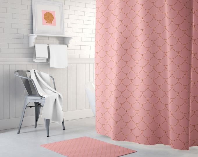 Burnt Orange Shower Curtain - Bath Mat - Pink Bath Curtain - Boho Shower Curtain - Waterproof Fabric