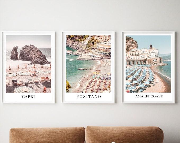 Beach Photography Print Set, Beach Umbrella Wall Print, Positano Print Set, Beach Umbrella Print, Capri Wall Print, Positano Print