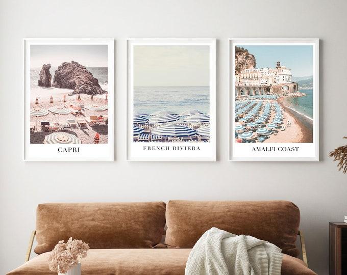 Beach Photography Print Set, Beach Umbrella Wall Print, Positano Print Set, Beach Umbrella Print, Capri Wall Print, French Riviera Print