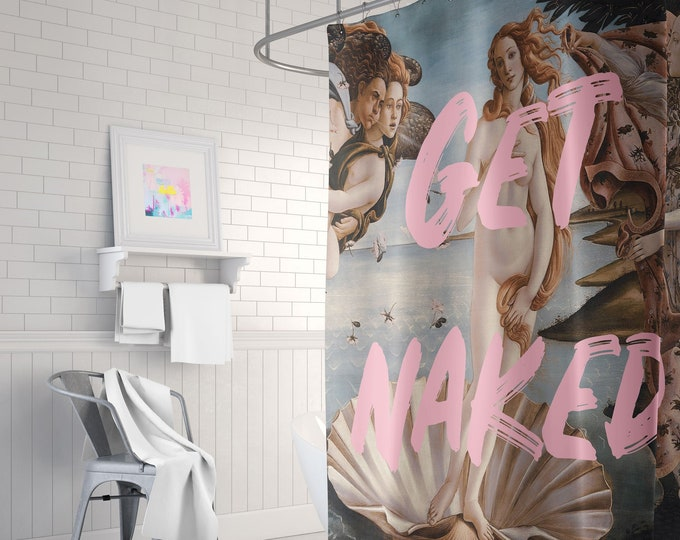 Get Naked Shower Curtain - Venus Shower Curtain - Pink Shower Curtain