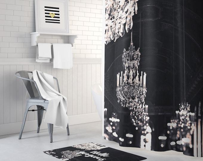 Chandelier Shower Curtain, Paris Shower Curtain, Glam Bath Decor, Black and White Shower Curtain