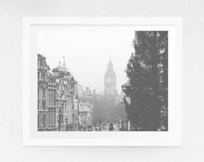 London Photography Print - Grey London, Big Ben, Fog, Black and White London Wall Decor