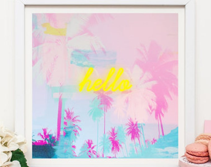Pink palm tree print, neon light print, pink decor, large wall print, wall decor, nursery decor, gift for her