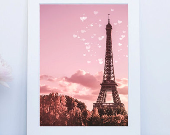 Pink Paris Eiffel Tower Photography Print - Paris print, pink print, dreamy print