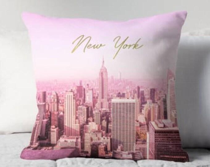New York pillow, gold decor, New York skyline, pink pillow, bedding, gift for her, home decor, New York decor, dorm decor