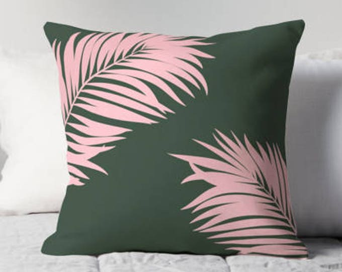 Palm tree print pillow, Tropical pillow, green pillow, customised decor, home decor, gift for her, Palm tree decor