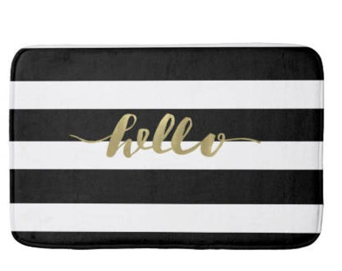 Black and gold bath mat, striped bath mat, gold bathroom decor, bathroom mat, black and white bath mat, black and white decor