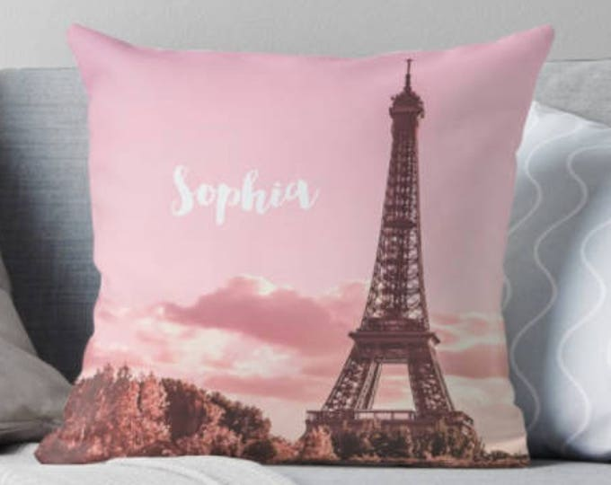 Personalised Paris pillow, Eiffel Tower pillow, Monogrammed pillow, Paris bedroom decor, French decor, Paris baby shower, Gift for her