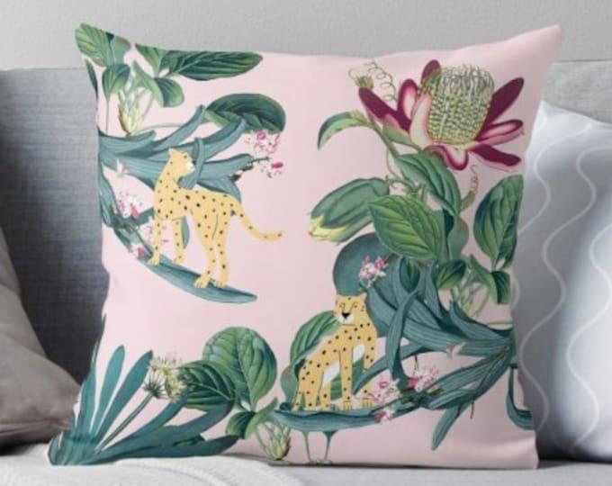 Jungle Print Pillow - Cheetah Pillow - Botanical Decor