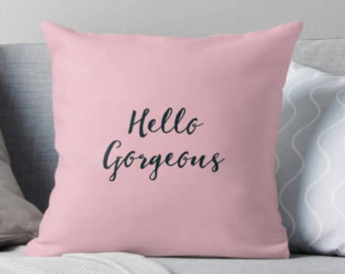 Pink and teal pillow, teal decor, pink decor, gift for her, Hello pillow, typography decor, custom decor, customised pillow, name pillow