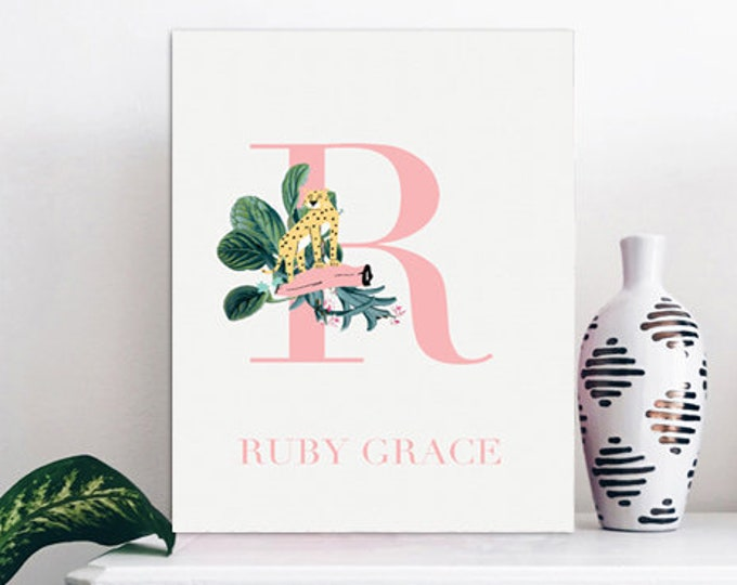 Monogrammed Wall Print - Name Nursery Print
