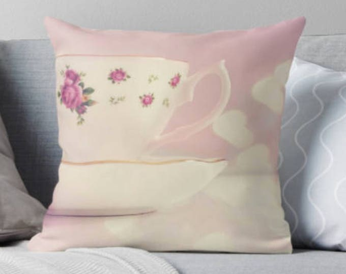 Tea Cup pillow, Pretty pillow, French style decor, Pink pillow, Living room decor, Bedroom decor, Mother's Day Gift, Gift for her