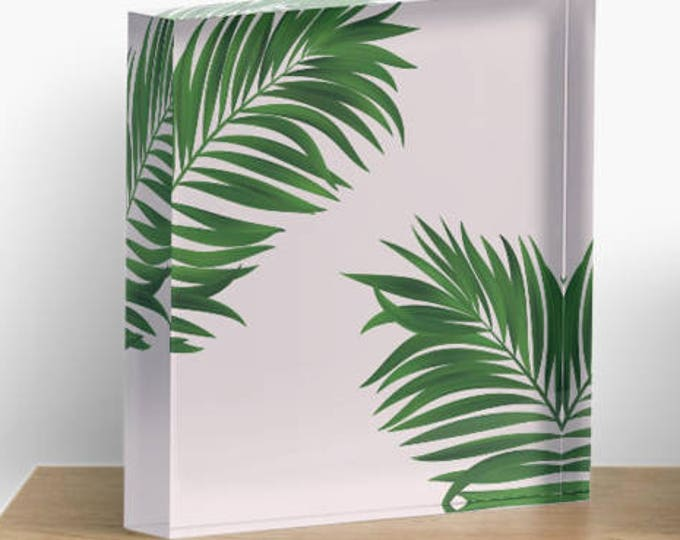 Pink Palm Print Acrylic Block Art, Green Print, Green decor, Home decor, Art, Gift for her, Bathroom decor
