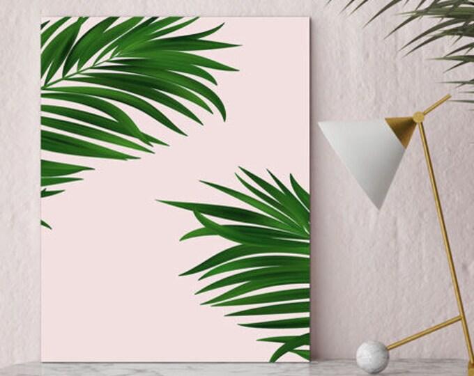 Palm print, Palm decor, millenial pink print, green decor, large wall print, palm canvas art, framed palm print, indoor garden