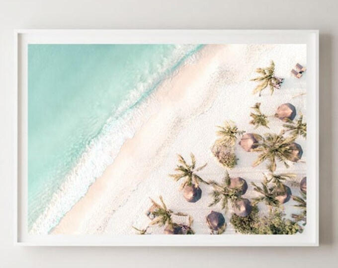 Beach Wall Print - Beach Umbrella Print - Beach Photography - Aerial Beach Print