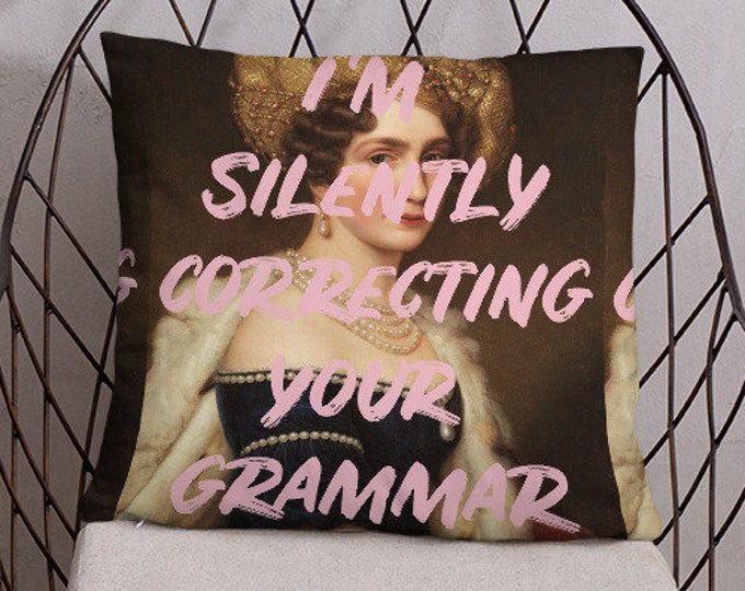 Grammar Queen Pillow, Library Decor, Office Pillow, Pink Pillow, Pink Decor, Too Glam Pillow, Gift For Her