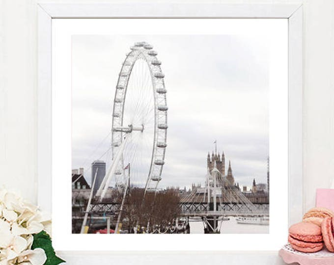 London photography print, London wall decor, London Eye print, Classic London print, large wall print, Britain, gift for her, gift for him