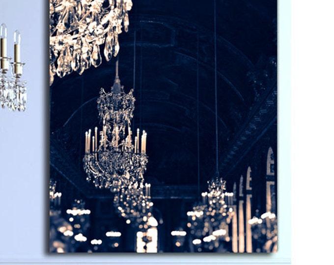 Paris Chandelier Canvas, Paris chandelier Print, chandelier art, navy and gold decor, large wall print