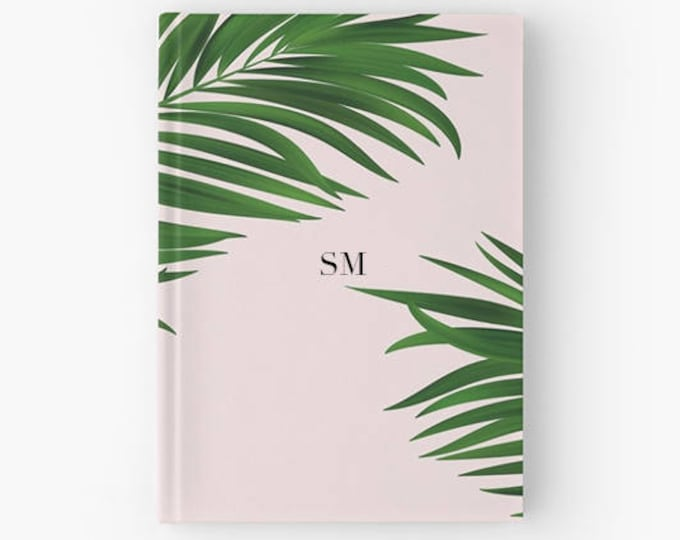 Personalised journal, Personalised notebook, Gift for her, bridal gift, millennial pink stationery, Bridesmaid gift, Palm print