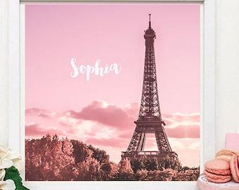 Personalised Paris print, Eiffel Tower print - Pink Paris Print - Paris nursery