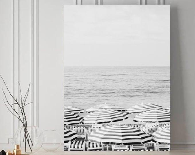 Beach Umbrella Photography Print - Black and White Beach Print