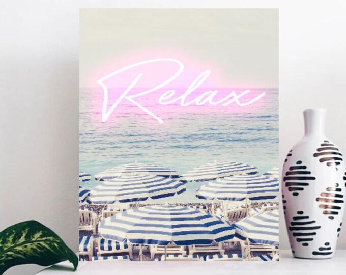 Aerial beach print, Wedding gift, Large wall print, Wall decor, French riviera print, Nautical home decor, Blue and white decor, Beach art