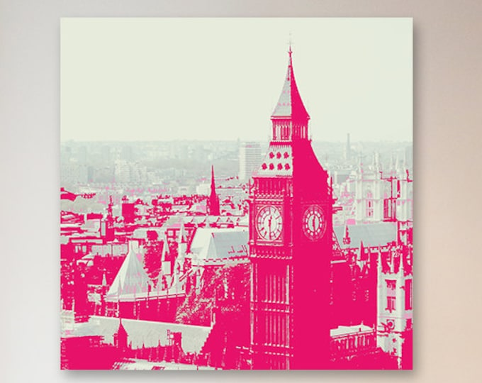 London Print canvas wall art - Hot Pink Decor