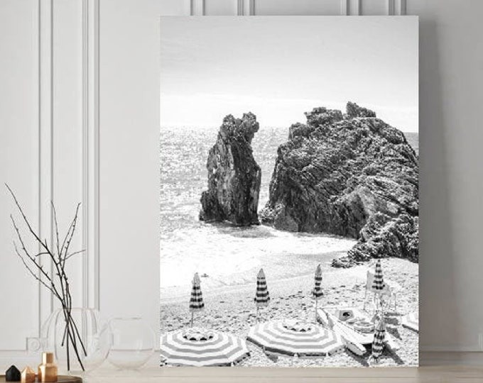 Capri Print, Beach Umbrella Photography Print - Black and White Beach Print
