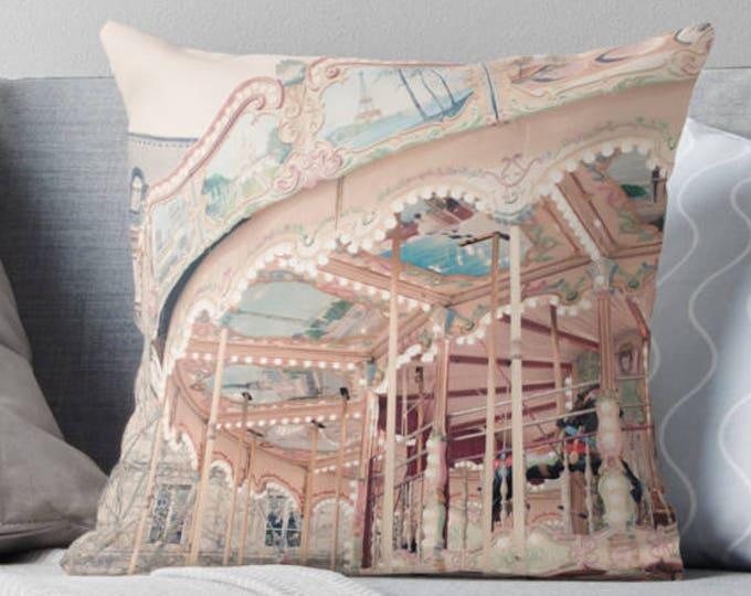 Paris pillow, carousel pillow, merry-go-round, nursery decor, Paris bedding, Paris carnival, gift for her, home decor, baby's room