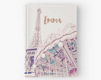 Personalised hardback Paris journal, Personalised Paris notebook, Gift for her, bridal gift, Paris stationery, Bridesmaid gift, Paris theme