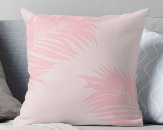 Palm tree print pillow, Tropical pillow, pink tropical pillow, customised decor, home decor, gift for her, Palm tree decor