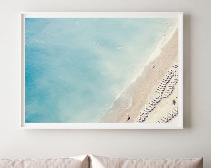 French Riviera Photography Print - Nautical Photography Print - Beach photography - Aerial Beach print - Blue Wall Decor