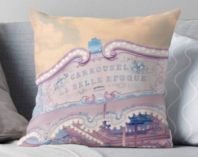 Paris carousel throw pillow - Paris, Pastel home decor, Carousel, nursery