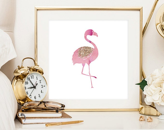 Pink flamingo print - faux rose gold print