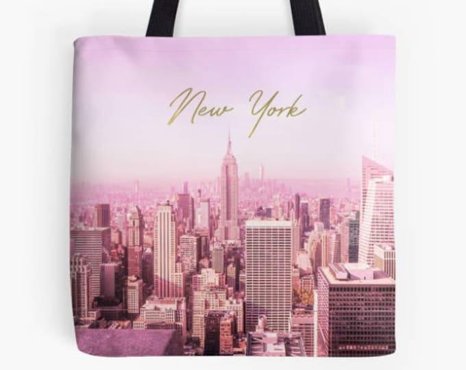 New York Tote Bag, Pink and gold bag, New York skyline bag, New York gift, gift for her, Custom New York bag, Pink tote bag, library bag