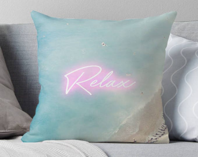 Aerial Beach print pillow, Neon print pillow, blue and white pillow, beach house decor, home decor, gift for her, French Rivera