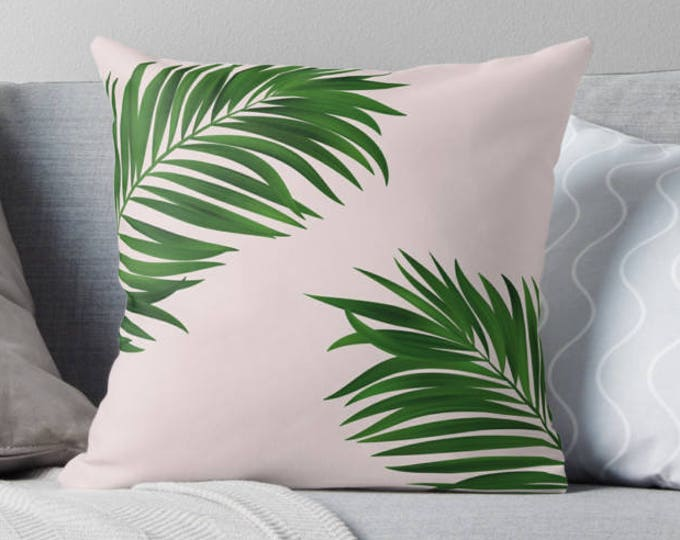 Palm tree print pillow, green pillow, customised decor, home decor, gift for her, Palm tree decor, tropical decor, wedding decor