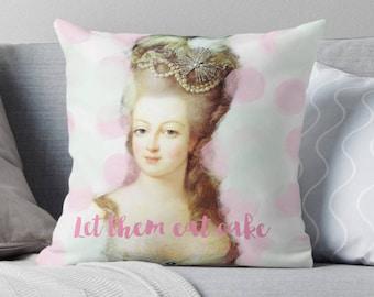Marie Antoinette Throw Pillow, Paris pillow, Pastel decor, Paris cushion, Marie-Antoinette decor, Paris bedding, eat cake, gift for her