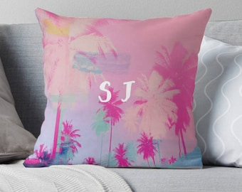 Palm tree print pillow, monogrammed pillow, pink pillow, customised decor, home decor, gift for her, monogrammed cushion, Palm tree decor